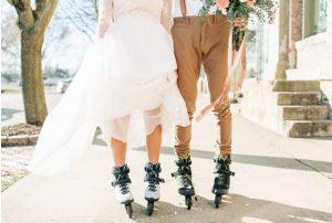 rollerblading couple's beautiful, vibrant outdoor wedding